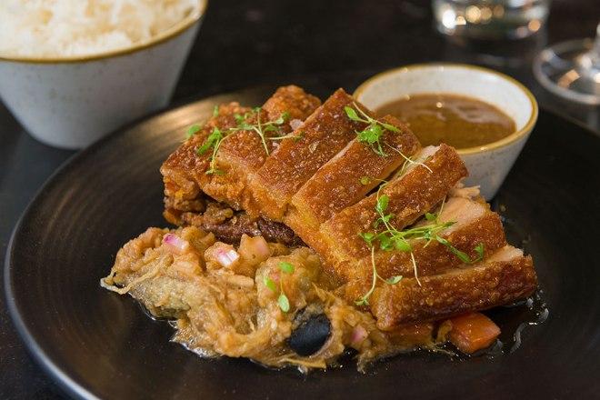 Romulo Cafe crispy pata pork leg