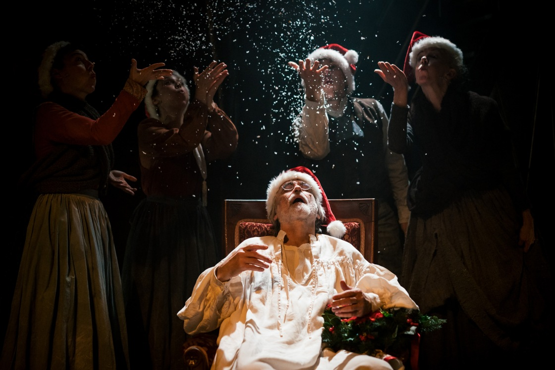 Cast of A Christmas Carol at Leeds Playhouse featuring Robert Pickavance (Scrooge). Photography by Andrew Billington