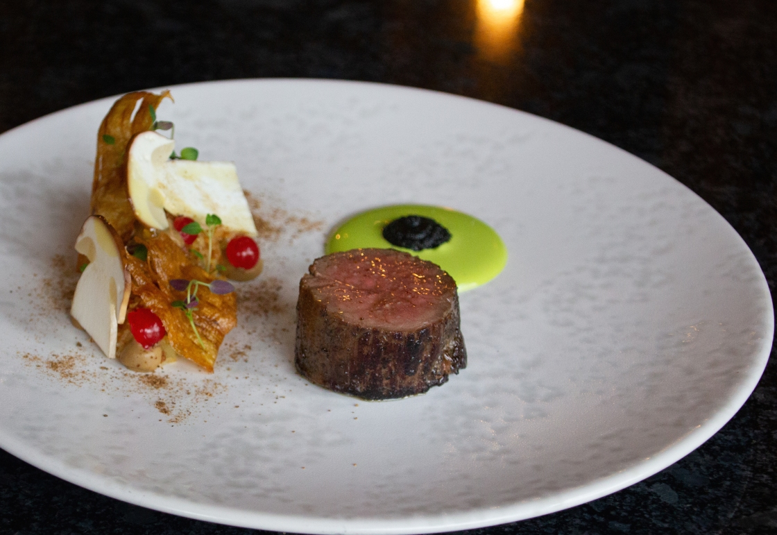 Roast haunch of Yorkshire Venison, parsnip, redcurrant, black garlic, parsley & bacon restaurant 92 Harrogate Michael Carr