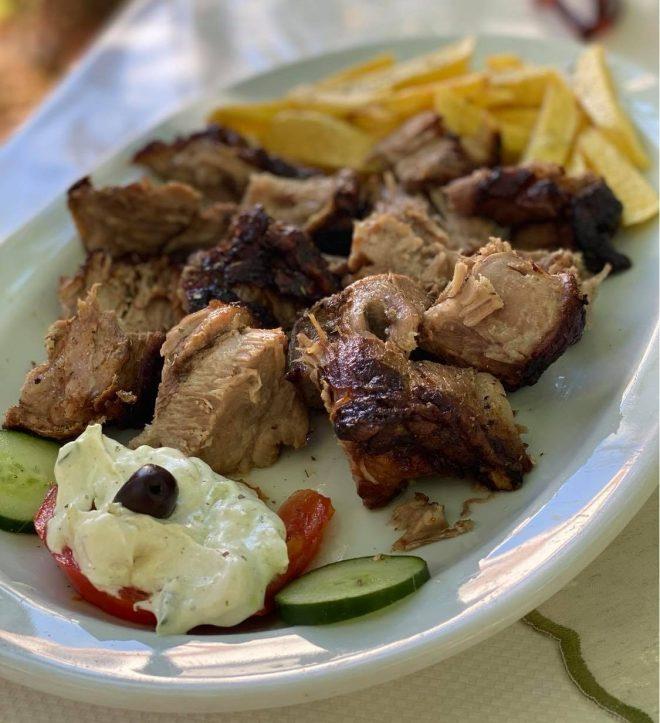 Pork kontosouvli Gianni's Taverna Halki Naxos Cyclades Greece